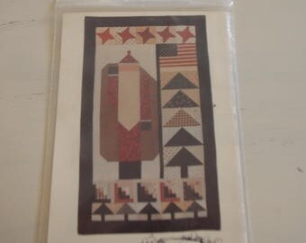 Country Santa Quilt Vintage Pattern Uncut Country Threads 1991 Wall Quilt 18 x 31 Sew