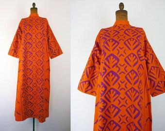 Vintage Maxi Dress | 1970s Dress | 70s Hawaiian Applique Bell Sleeve Red Orange Cotton Ethnic Boho Hippie Pakistan Long Dress Kaftan Caftan