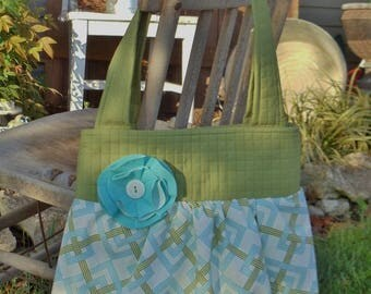 """SAmPLE SaLE *  """"BETH""""  Bag  in green, aqua blue, white  fabric with shabby flower accent * REaDY TO SHiP"""