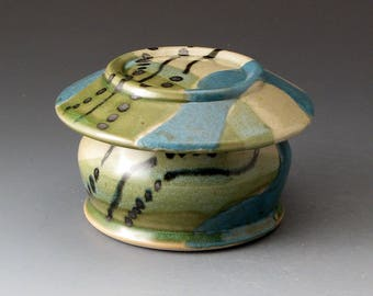 Handmade Ceramic French Butter Dish with Dots and Teal and Green Colors, Butter Crock, Butter Keeper, Butter Dishes, Covered Jar
