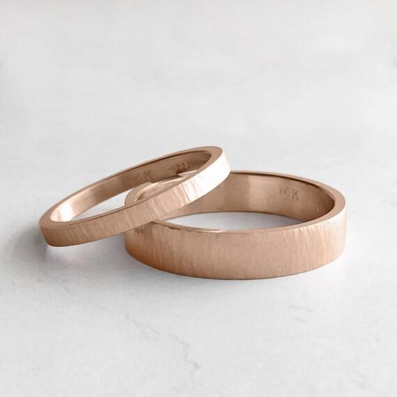 Tree Bark Hammer Texture Rose Gold Wedding Band Set 2mm And