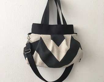 Cross Body Pleated Bag (SMALL or MEDIUM) w/ Adjustable Strap - Chevron Black / Dention