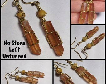 Natural Tangerine Quartz points with Yellow Calcite, earrings