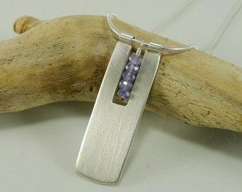 Long Sleek sterling and Tanzanite Necklace - N1320