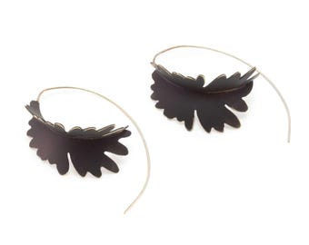 Frond Dangle Earrings in Brass with Black Powder Coat