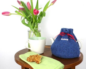 2 Cup Tea Cosy, small  tea cozy, Blue tea cozy, made in Scotland, Tea drinkers Gift, knitted tea cosy, Mothers Day Gift, UK shop