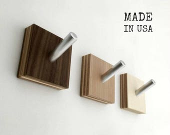Wall Hooks, Modern Wood Coat Hooks, Minimalist Modern, Industrial Chic, Cubist Decor, Set of Three