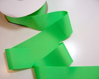 Wide Green Ribbon, Neon Green Grosgrain Ribbon 2 1/4 inches wide x 10 yards