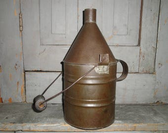 Vintage Metal Kerosene Lamp Oil Can With Bale Handle