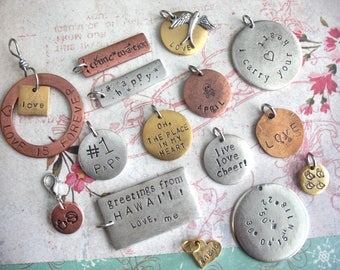 SAMPLE SALE! by Tipsy Whimsey .. Shop variety of charms that are Pre-Stamped & SAVE. Perfect for sampling materials, feeling textures, gifts