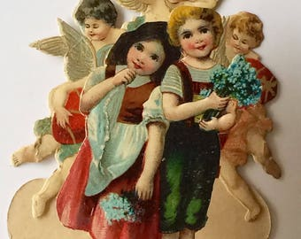 Antique Victorian Die Cut Valentine Fold Down 3D Peasant Girl and Boy with Cupids