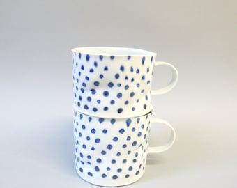 Blue polka porcelain cup