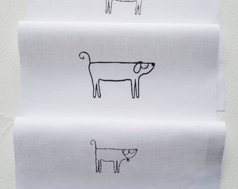 Dog Designs - 3 different images - hand printed onto white cotton for embroidery, patchwork quilting, dress making
