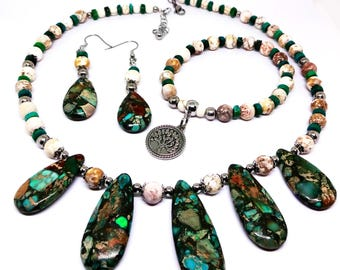 Womens Necklace Set-Includes Earrings, Bracelet-Made with Sea Sediment Jasper-White Turquoise-Stainless Steel Beads & Chain, Unique Gift!