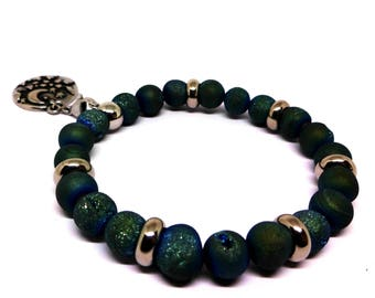 Womens Metallic Titanium Blue Agate Bracelet-Druzy Beads, All Metal 316L Stainless Steel, Stainless Beads, Pick Your Charm! Mothers Day