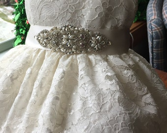 Cassie, Ivory Lace Christening Gown/Dress, Headdress,