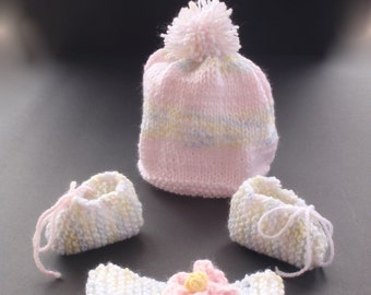 Baby girl knit set/baby girl hat, bootie and headband set/pink stripe hat with pompom/headband with flower/baby shower gift/infant girl/gift