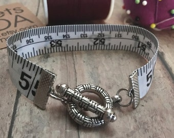 Measuring Tape Cuff Bracelet, Weight Loss Bracelet, Sewing Gift, Seamstress Gift, Tape Measure Bracelet, Repurposed Measuring Tape Bracelet