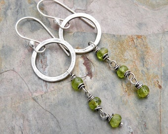 August Birthstone Earrings, Sterling Silver, Peridot Dangle Earrings, Hammered Circles, Green Gemstone Drops, Everyday Jewelry, #4682