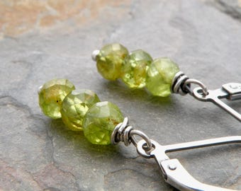 Peridot Earrings, Green Gemstone, Sterling Silver, Lever Back Wires, Faceted Peridot Gemstone, Dangle Earrings, Petite Earrings, #4737