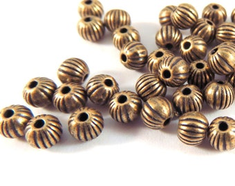 100 Antique Copper Ribbed Corrugated Bead 3.5mm LF/NF/CF Light Coloring - 100 pc - M7009-AC100