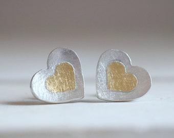 Amour earrings. Sterling silver heart earrings with 24kt gold. Love earrings, love studs, gold studs, kum boo, heart earrings, heart studs.