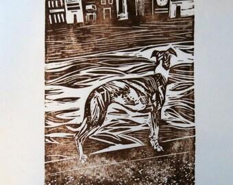 BirdsforBirds Greyhound and River art block print