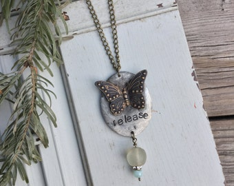 Release Narrative Necklace with Butterfly | African Trade Bead Rhinestone Amazonite | Narrative Jewelry