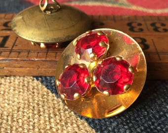 """2 Vintage Gold and Ruby Buttons (1"""")"""