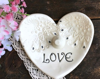 Sale - Lace Impressed Heart Ring Holder -Ring Dish, Ring Bowl, Jewelry Dish, Jewelry Bowl, Trinket Dish, Heart Ring Dish  Ready to Ship