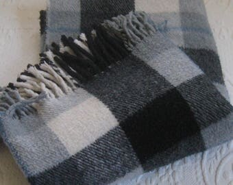 plaid Throw . tartan blanket . plaid blanket .  vintage tartan plaid . grey and blue plaid blanket