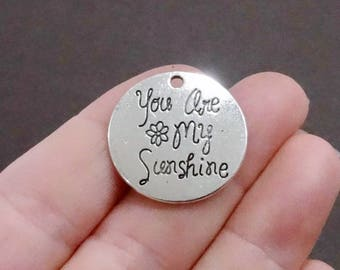 """6, """"You are my Sunshine"""" Charms 25x1.5mm, Hole: 2mm"""