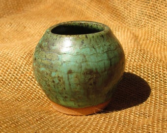 Pottery Mini Vase in Green