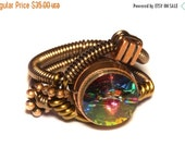 HAPPY HOLIDAYS SALE - Steampunk Jewelry - Steampunk Wire Ring with Vitrail Swarovski Crystal