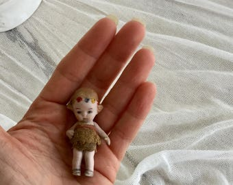 Tiny Bisque Antique German Flower Child Girl Doll with Lace Dress