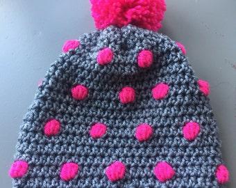 Polka dot beanie slouchy crochet knit hat with pompom