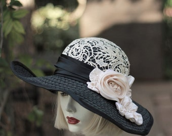 Womens Hats, Wide Brim Hat, Summer Hat, Hat with Lace, Black Straw Hat, Hat with Flowers, Garden Party Hats, Kentucky Derby Race Hat