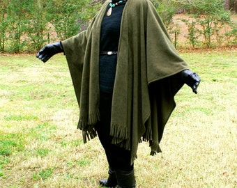 Olive Green Anti Pill Fleece Wrap, Poncho, Cape, Blanket Scarf, Ruana or Shawl with Fringe--One Size Fits Most