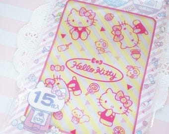 15  Zip Top Baggies / Gift Bags (10cm14cm) Hello Kitty Yellow Stripes
