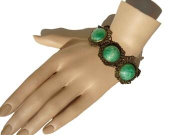 Vintage 30s Bracelet Art Deco Peking Glass Bohemian Czech