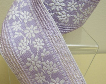 """35"""" Vintage Floral Woven Cotton Blend LAVENDER & WHITE  Fabric Trim Edging  2-1/4"""" Wide Doll Children's Clothing  Crafts Sewing"""