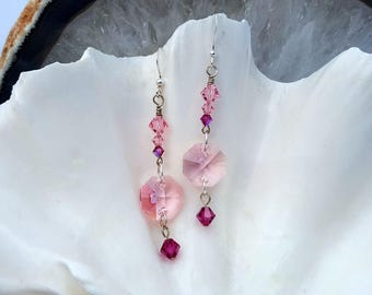 Long Dangling Pink Swarovski Crystal Drop Earrings