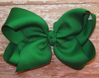 X-Large KING Size Grosgrain Hair Bow in Emerald Green Big Girls Boutique Style Hairbow