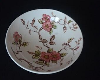 "Vintage 1940's Nasco Springtime Serving Bowl Pink Cherry Dogwood Blossoms - 9"" Diameter"