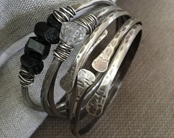 Sterling Silver Bangle Bracelet Raw Gemstone Jewelry Black Tourmaline Silver Bracelets DanielleRoseBean Sterling Bangle Bracelets Bangle Set