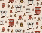 Clearance Premier Prints Hooty Owl Village- Fabric by the Yard - Home Decorating Fabric Owl Fabric - Blue, Rust and Green