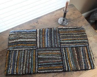 Hooked Rug- Log Cabin Series- Brown Multi