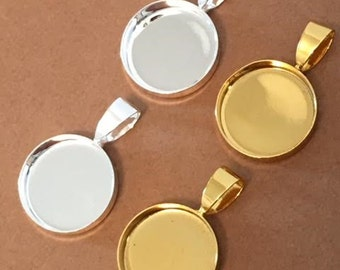 100 TINY 16mm Bezels Blank Pendant Circles Round Trays Shiny Silver Plated  Settings Cabs Charms Deep Gold Colored