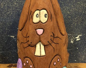 HAND CARVED original Easter Bunny w/ eggs from 100 year old Cottonwood Bark.