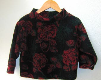 Kids Fleece Pullover Jacket Sweater Red Floral Print Little Girl Super Soft Plush
